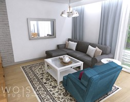 Dom w Różynach 2018 - Mały biały salon z tarasem / balkonem, styl rustykalny - zdjęcie od WOJSZ studio