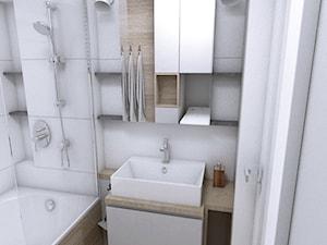 Mieszkanie w Gdańsku 2018 - Mała biała łazienka w bloku w domu jednorodzinnym bez okna, styl skandynawski - zdjęcie od WOJSZ studio