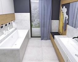 Warszawa 2017 - Duża beżowa czarna łazienka w domu jednorodzinnym z oknem, styl nowoczesny - zdjęcie od WOJSZ studio