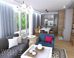 Dom w Różynach 2018 - Średni szary biały salon z bibiloteczką z jadalnią, styl rustykalny - zdjęcie od WOJSZ studio