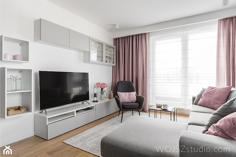 Realizacja - mieszkanie w Gdańsku 2018 - Średni biały salon, styl nowoczesny - zdjęcie od WOJSZ studio