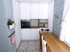 Dom w Różynach 2018 - Średnia zamknięta wąska biała szara kuchnia jednorzędowa z oknem, styl eklektyczny - zdjęcie od WOJSZ studio