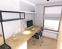 Black & White - Małe białe biuro domowe na poddaszu, styl nowoczesny - zdjęcie od WOJSZ studio