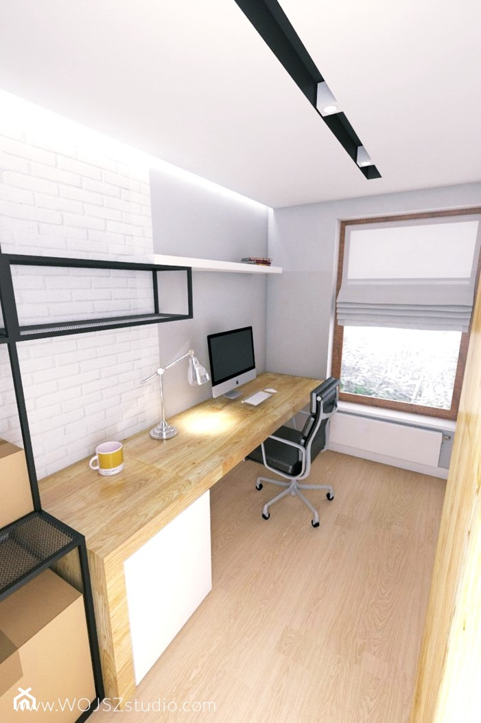 Black & White - Małe białe biuro domowe na poddaszu, styl nowoczesny - zdjęcie od WOJSZ studio - Homebook