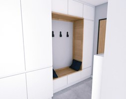 Granatowy akcent - Średni szary hol / przedpokój, styl minimalistyczny - zdjęcie od WOJSZ studio