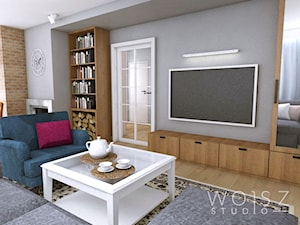 Dom w Różynach 2018 - Mały szary salon z bibiloteczką, styl rustykalny - zdjęcie od WOJSZ studio