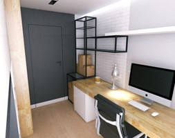 Black & White - Średnie szare białe biuro pracownia domowe kącik do pracy na poddaszu w pokoju, styl nowoczesny - zdjęcie od WOJSZ studio