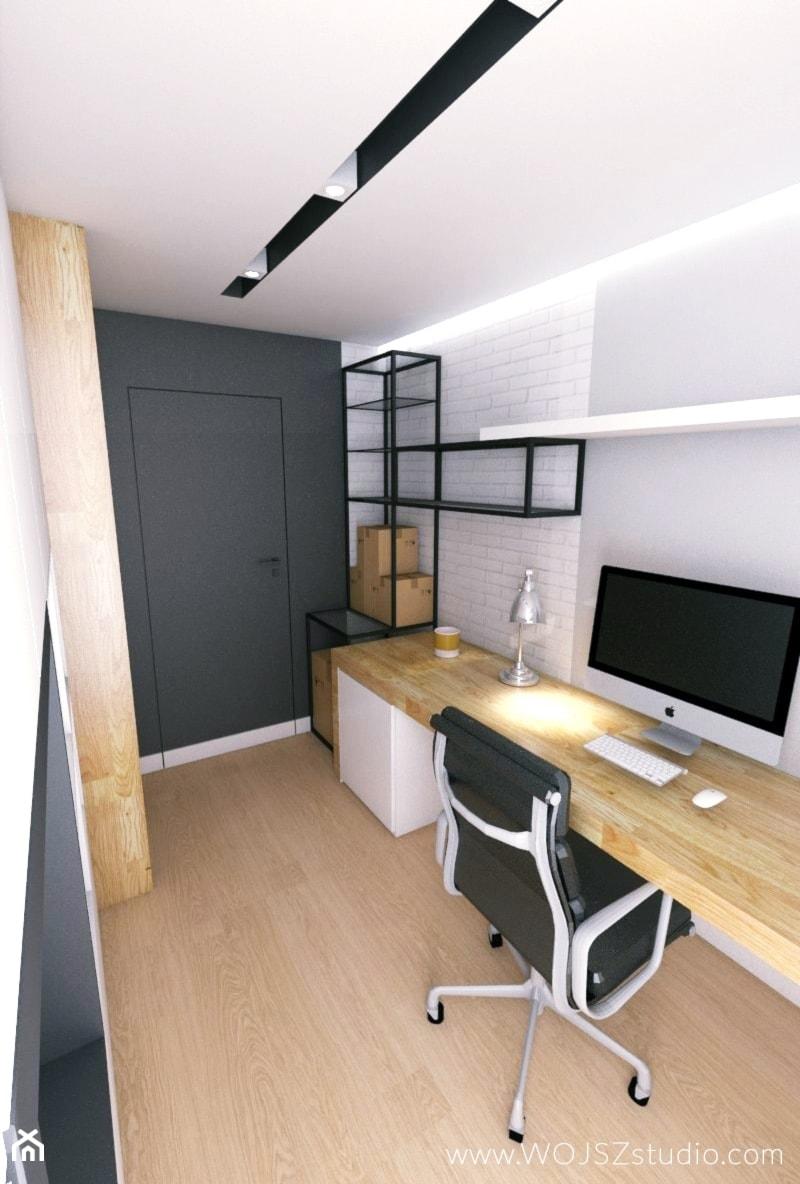 Aranżacje wnętrz - Biuro: Black & White - Średnie szare białe biuro pracownia domowe kącik do pracy na poddaszu w pokoju, styl nowoczesny - WOJSZ studio. Przeglądaj, dodawaj i zapisuj najlepsze zdjęcia, pomysły i inspiracje designerskie. W bazie mamy już prawie milion fotografii!