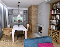 Dom w Różynach 2018 - Mały szary salon z bibiloteczką z jadalnią, styl rustykalny - zdjęcie od WOJSZ studio