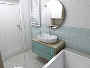 Łazienka - Pruszcz Gdański 2019 - Mała biała niebieska łazienka w bloku w domu jednorodzinnym bez okna, styl nowoczesny - zdjęcie od WOJSZ studio