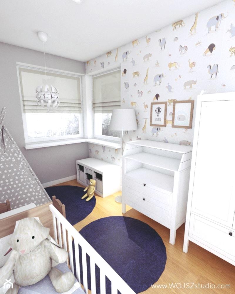 Aranżacje wnętrz - Pokój dziecka: Granatowy akcent - Mały biały szary pokój dziecka dla chłopca dla dziewczynki dla niemowlaka, styl skandynawski - WOJSZ studio. Przeglądaj, dodawaj i zapisuj najlepsze zdjęcia, pomysły i inspiracje designerskie. W bazie mamy już prawie milion fotografii!