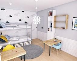 Black & White - Duży biały szary pokój dziecka dla chłopca dla dziewczynki dla rodzeństwa dla ucznia dla malucha dla nastolatka, styl nowoczesny - zdjęcie od WOJSZ studio