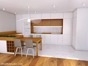 All in white - Średnia otwarta biała kuchnia w kształcie litery u w aneksie, styl nowoczesny - zdjęcie od WOJSZ studio