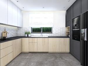 Dom jednorodzinny,Niepołomice - Duża otwarta biała szara kuchnia w kształcie litery u z oknem, styl nowoczesny - zdjęcie od STUDIO PNIAK