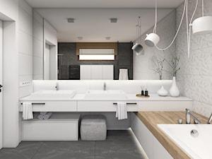 Biała łazienka z drewnem - zdjęcie od STUDIO PNIAK