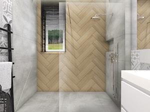 Dom jednorodzinny w Brzezie,Niepołomice - Mała szara łazienka w bloku w domu jednorodzinnym z oknem, styl rustykalny - zdjęcie od STUDIO PNIAK