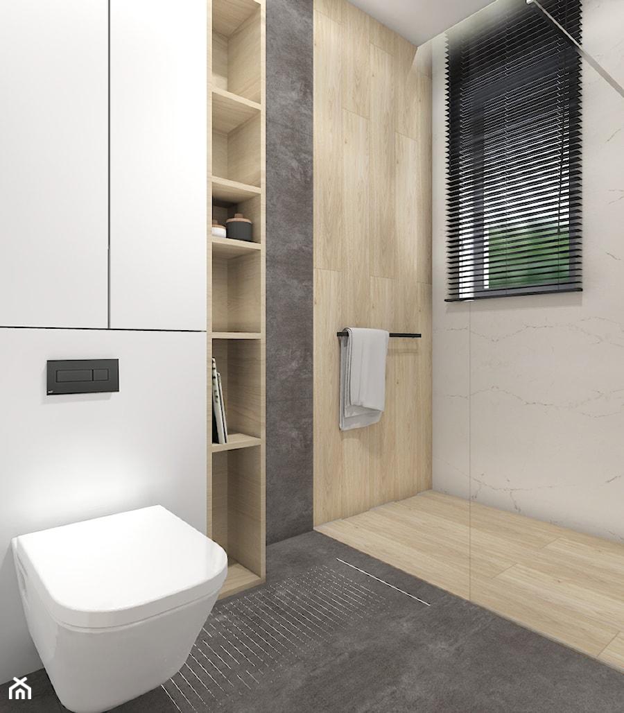 Dom jednorodzinny,Niepołomice - Mała biała szara łazienka na poddaszu w bloku w domu jednorodzinnym z oknem, styl nowoczesny - zdjęcie od STUDIO PNIAK