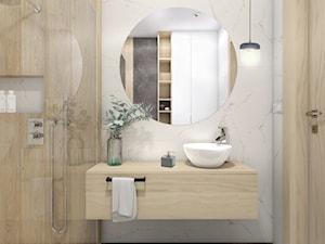 Dom jednorodzinny,Niepołomice - Mała biała łazienka na poddaszu w bloku w domu jednorodzinnym bez okna, styl nowoczesny - zdjęcie od STUDIO PNIAK