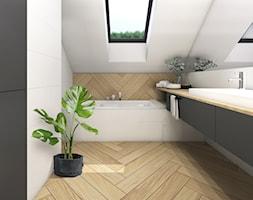 Dom 120m2,Brzezie - Mała biała łazienka na poddaszu w domu jednorodzinnym z oknem, styl rustykalny - zdjęcie od STUDIO PNIAK