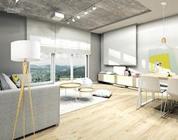 Mieszkanie Bielsko-Biała,50m2. 1 - Średni szary biały salon z jadalnią z tarasem / balkonem, styl nowoczesny - zdjęcie od STUDIO PNIAK