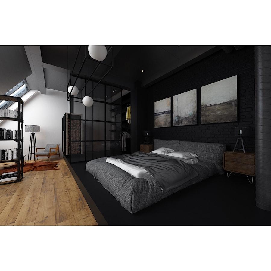 Aranżacje wnętrz - Sypialnia: Czarna sypialnia - Duża szara czarna sypialnia małżeńska na poddaszu, styl industrialny - Projektowanie Wnętrz Krystian Motyl. Przeglądaj, dodawaj i zapisuj najlepsze zdjęcia, pomysły i inspiracje designerskie. W bazie mamy już prawie milion fotografii!