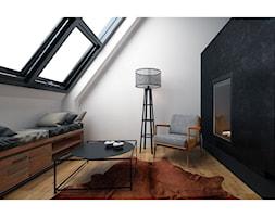 Czarna sypialnia - Mała szara czarna sypialnia na poddaszu, styl industrialny - zdjęcie od Projektowanie Wnętrz Krystian Motyl