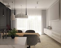 Klasyka w nowoczesnym wydaniu - Mały szary salon z jadalnią - zdjęcie od Projektowanie Wnętrz Krystian Motyl