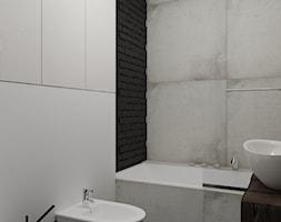 Rewitalizacja krakowskiej kamienicy - Mała biała łazienka w bloku w domu jednorodzinnym bez okna, styl industrialny - zdjęcie od Projektowanie Wnętrz Krystian Motyl