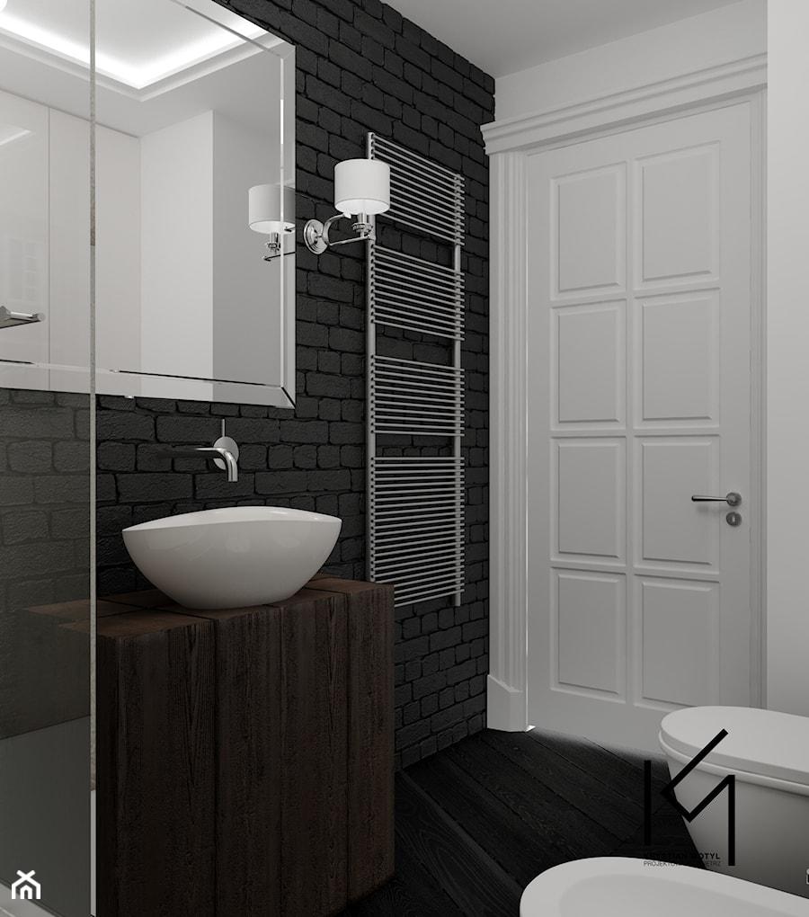 Aranżacje wnętrz - Łazienka: Rewitalizacja krakowskiej kamienicy - Mała biała czarna łazienka w bloku w domu jednorodzinnym bez okna, styl industrialny - Projektowanie Wnętrz Krystian Motyl. Przeglądaj, dodawaj i zapisuj najlepsze zdjęcia, pomysły i inspiracje designerskie. W bazie mamy już prawie milion fotografii!