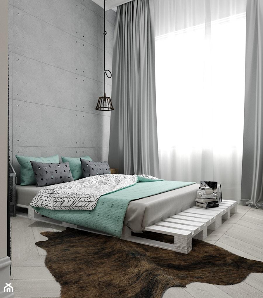 Rewitalizacja krakowskiej kamienicy - Mała szara sypialnia małżeńska, styl industrialny - zdjęcie od Projektowanie Wnętrz Krystian Motyl