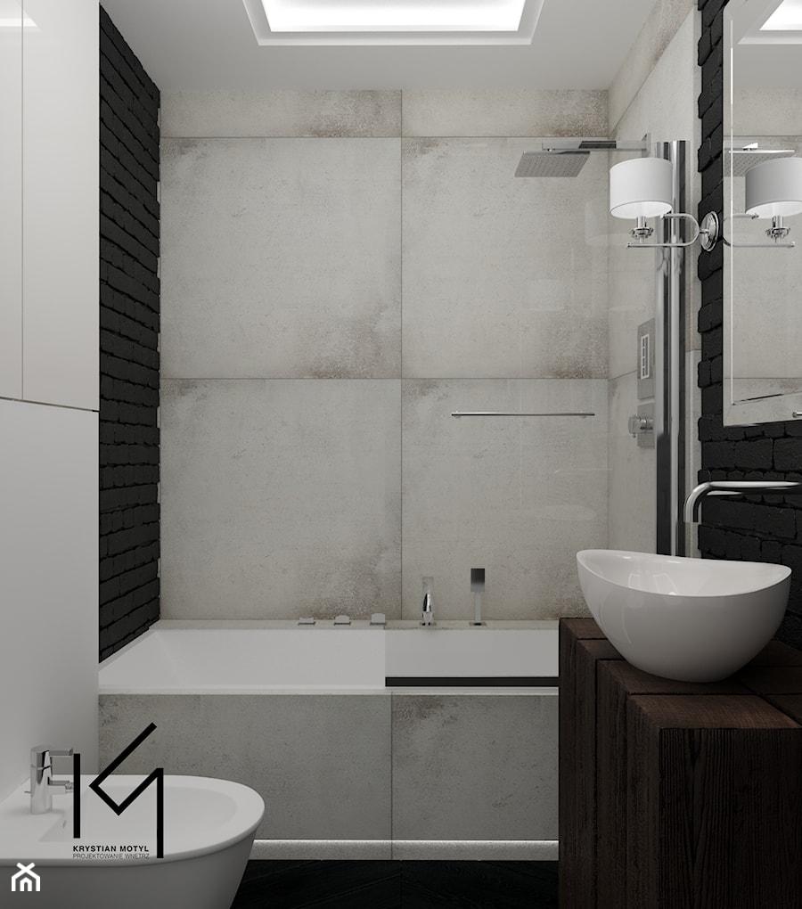 Aranżacje wnętrz - Łazienka: Rewitalizacja krakowskiej kamienicy - Mała biała łazienka w bloku w domu jednorodzinnym bez okna, styl industrialny - Projektowanie Wnętrz Krystian Motyl. Przeglądaj, dodawaj i zapisuj najlepsze zdjęcia, pomysły i inspiracje designerskie. W bazie mamy już prawie milion fotografii!