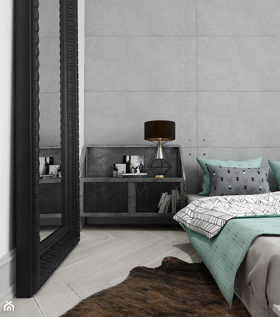 Rewitalizacja krakowskiej kamienicy - Średnia biała szara sypialnia małżeńska, styl industrialny - zdjęcie od Projektowanie Wnętrz Krystian Motyl