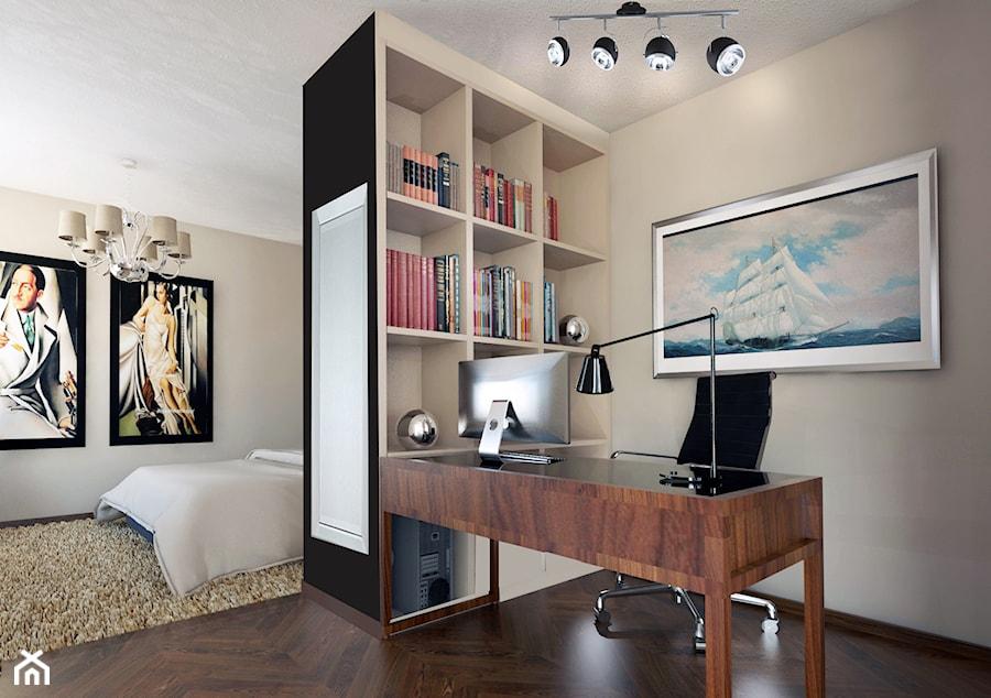 Apartament w Stolicy - Średnie beżowe biuro kącik do pracy w pokoju, styl nowoczesny - zdjęcie od beata_no@o2.pl