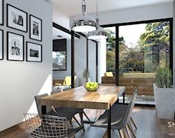 LOFTOWO - Duża otwarta biała jadalnia jako osobne pomieszczenie, styl industrialny - zdjęcie od SM STUDIO Projektowanie wnętrz