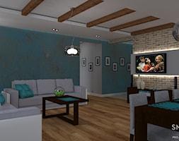 PRZEWAGA TURKUSU - Średni szary salon z jadalnią, styl rustykalny - zdjęcie od SM STUDIO Projektowanie wnętrz