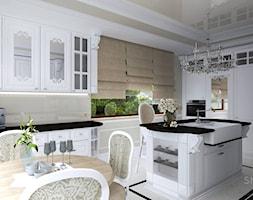 COTTON QUEEN - Duża zamknięta szara kuchnia w kształcie litery u z wyspą z oknem, styl klasyczny - zdjęcie od SM STUDIO Projektowanie wnętrz