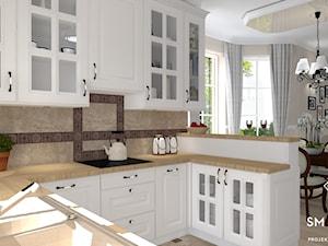 KLASYCZNIE - Średnia otwarta szara kuchnia w kształcie litery u w aneksie z oknem, styl klasyczny - zdjęcie od SM STUDIO Projektowanie wnętrz