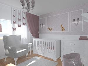 Pokój dziewczynki - Mały szary różowy pokój dziecka dla chłopca dla dziewczynki dla niemowlaka, styl klasyczny - zdjęcie od StudioBarw