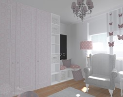 Pokój dziewczynki - Średni biały czarny pokój dziecka dla dziewczynki dla niemowlaka dla malucha, styl klasyczny - zdjęcie od StudioBarw
