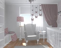 Pokój dziewczynki - Średni biały szary różowy pokój dziecka dla dziewczynki dla niemowlaka dla malucha, styl klasyczny - zdjęcie od StudioBarw