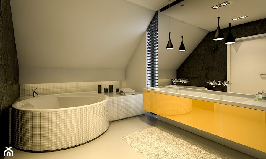 Willa w Łomiankach - Duża biała czarna łazienka na poddaszu w domu jednorodzinnym z oknem, styl nowoczesny - zdjęcie od Casa Marvell Interior Design & Interior Boutique