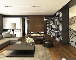 Willa w Łomiankach - Duży beżowy czarny salon, styl nowoczesny - zdjęcie od Casa Marvell Interior Design & Interior Boutique