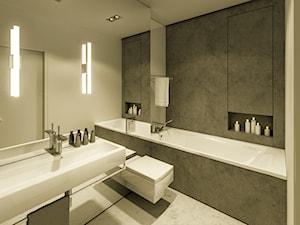 Loft QBIK Warszawa - Mała beżowa szara łazienka w bloku bez okna, styl nowoczesny - zdjęcie od Casa Marvell Interior Design & Interior Boutique