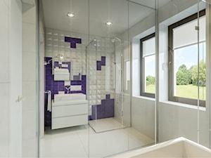 Dom jednorodzinny w Sochaczewie - Średnia biała fioletowa łazienka w domu jednorodzinnym z oknem, styl nowoczesny - zdjęcie od Casa Marvell Interior Design & Interior Boutique