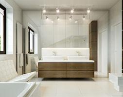 Dom jednorodzinny w Sochaczewie - Średnia biała łazienka w domu jednorodzinnym z oknem, styl nowoczesny - zdjęcie od Casa Marvell Interior Design & Interior Boutique