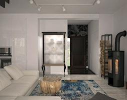 NOWA WOLA - Mały biały salon z kuchnią, styl nowoczesny - zdjęcie od warszawskiewnetrza