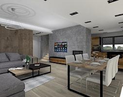 Nowoczesny salon z jadalnią - zdjęcie od iStudioo