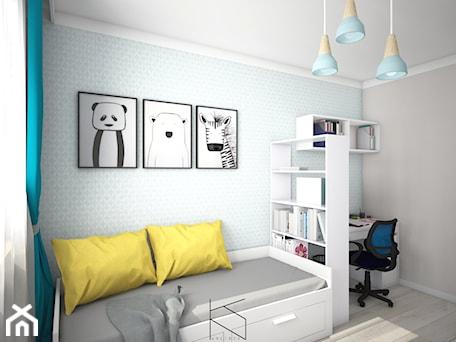 Aranżacje wnętrz - Pokój dziecka: Projekt pokoju dla nastolatki - Średni szary niebieski pokój dziecka dla chłopca dla ucznia dla nast ... - KN.wnętrza. Przeglądaj, dodawaj i zapisuj najlepsze zdjęcia, pomysły i inspiracje designerskie. W bazie mamy już prawie milion fotografii!