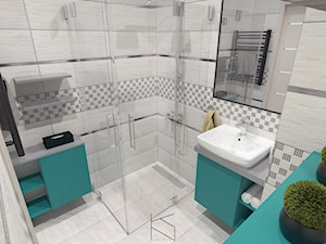 Niewielka łazienka w odcieniach szarości