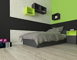 Pokój chłopca - Mały biały zielony czarny pokój dziecka dla chłopca dla dziewczynki dla nastolatka, styl tradycyjny - zdjęcie od KN.wnętrza